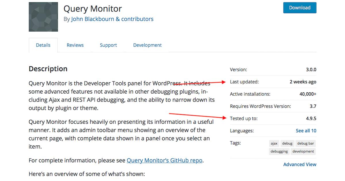 Монитор запросов в каталоге WordPress.org