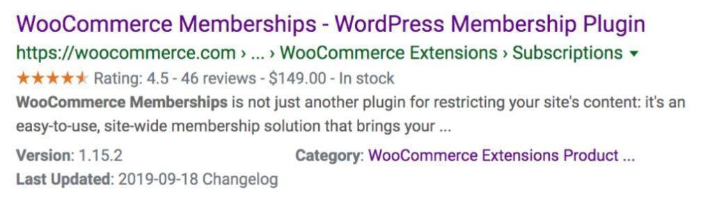 пример поиска для Членств Woocommerce с разметкой Схемы
