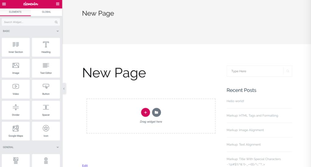 Создание новой страницы в Elementor.