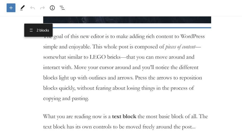 Перетаскивание двух блоков в редакторе.