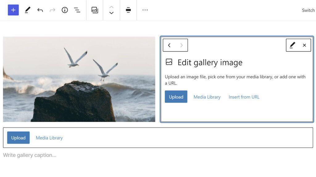 Редактирование одного изображения галереи в редакторе блоков.