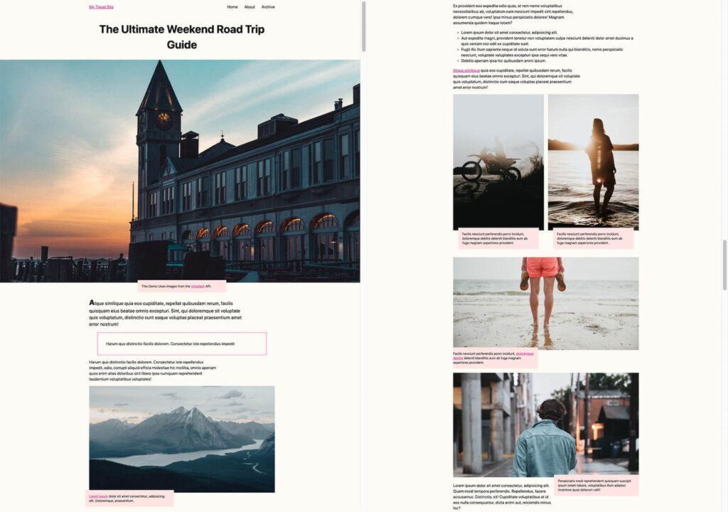 Скриншот туристического блога.